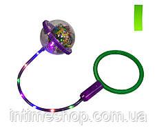 Светящаяся скакалка на одну ногу Ice Hoop (Фиолетовое кольцо и Зеленый круг №1), нейроскакалка (TI)