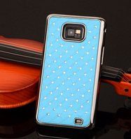 Чехол голубой c камнями на Samsung GalaxyS2 (i9100)