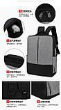 Городские Рюкзак-USB с барсетка 3в1 Туристический спортивный рюкзак и портфели школьные Для мужчин и женщин, фото 6