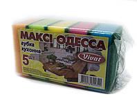 """Губка для миття посуду кухонні Vivat """"Максі Одеса"""" (83×55×30 мм) 5 шт/уп + Відеоогляд"""