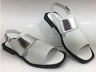 Белые босоножки кожаные Турецкие стильная  подошва низкий ход, фото 1