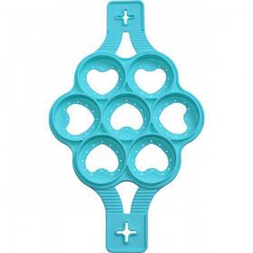 Форма-трафарет Сердце для жарки оладий и яичницы Ø23.5см силиконовая, 7 ячеек (PSG_HH-993)