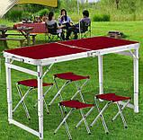 Туристичний розкладний стіл для пікніка зі стільцями туристичний набір у валізі посилений складаний стіл і, фото 2