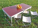Туристичний розкладний стіл для пікніка зі стільцями туристичний набір у валізі посилений складаний стіл і, фото 5