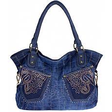 Сумка жіноча №8248-1R з кишенями джинс Синій