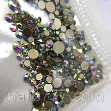Стрази для дизайну нігтів ,мікс срібло голографика різних розмірів