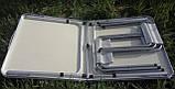 Туристичний розкладний стіл для пікніка ПОСИЛЕНИЙ алюмінієвий набір стіл і стільці валізу для кемпінгу, фото 5