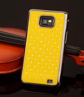 Чехол желтый c камнями на Samsung GalaxyS2 (i9100)