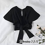 Жіноча блузка - топ, американський креп, р-р 42-44; 44-46 (чорний), фото 2