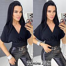 Женская блузка - топ, американский креп, р-р 42-44; 44-46 (чёрный)
