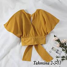 Женская блузка - топ, американский креп, р-р 42-44; 44-46 (горчица)
