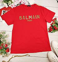Красная женская футболка Balmain (Балман)