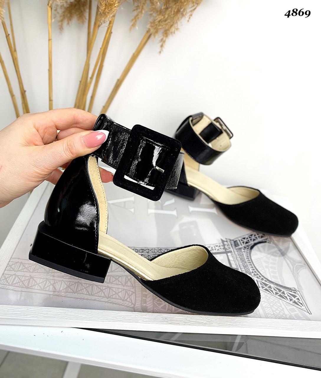 Женские туфли на мини каблуке из натурального замша и кожи лак 36-40 р чёрный