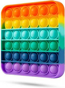 Сенсорная игрушка Pop It Fidget антистресс пупырка Радужный квадрат