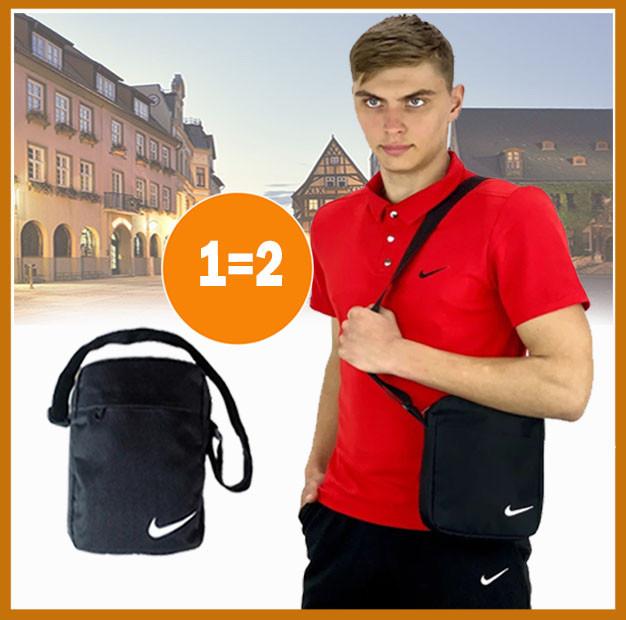 Мужской летний комплект шорты футболка черно-красный Nike, костюм футболка поло и шорты + барсетка в подарок