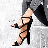 Женские босоножки на каблуке 10 см с переплетом, фото 4