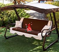 Садовые подвесные раскладные трехместные качели с навесом Лацио 180 для отдыха, качели для дачи,качели-лавочки