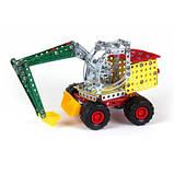 Конструктор развивающий металлический ТехноК с отверткой для детей Экскаватор 306 деталей арт. 4784, фото 8