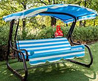Садовые подвесные раскладные трехместные качели с навесом Валле 180 для отдыха, качели для дачи,качели-лавочки