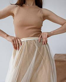 Летящая воздушная юбка миди в 3 цветах в размере S/M и L/XL. золотой песок