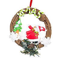 Новогодняя подвеска венок дед мороз;снеговик