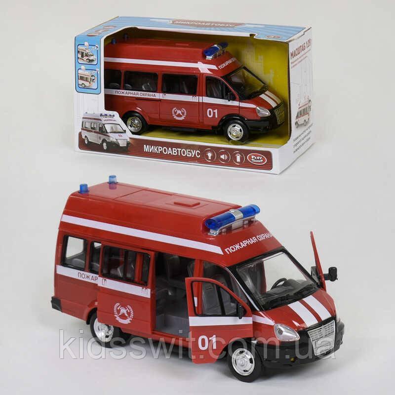 """Машина """"Пожарная охрана"""" 9707 А  Play Smart, инерция, свет и звук сирены, откр. двери"""