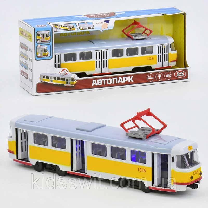 Трамвай 9708 В підсвічування, звук, відкриваються двері, інерція, в коробці