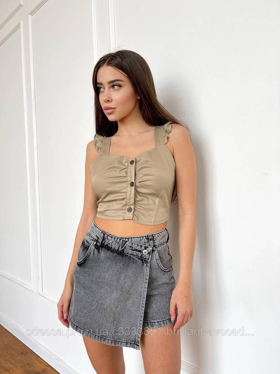 Жіночі модні джинсові шорти-спідниця в трьох кольорах