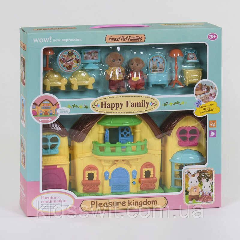 """Домик """"Счастливая семья"""" 20030, 2 этажа, 2 фигурки флоксовые, мебель, свет, звук"""