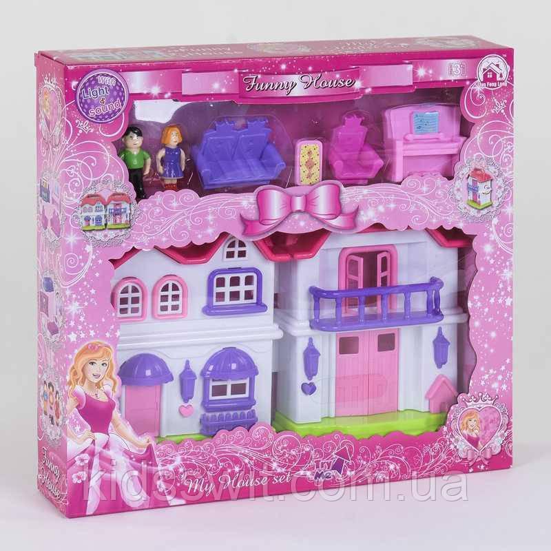 Будиночок ляльковий BS 866-4 Х, 2 поверхи, 2 фігурки персонажів, меблі, світло, звук