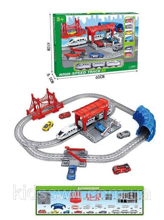 Залізниця 888-6 світло, звук, поїзд, 6 машин, в коробці