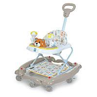 Детские музыкальные ходунки 3в1 каталка-качалка Мишка + родительская ручка, музыка Bambi M 3656A-S-, бежевый