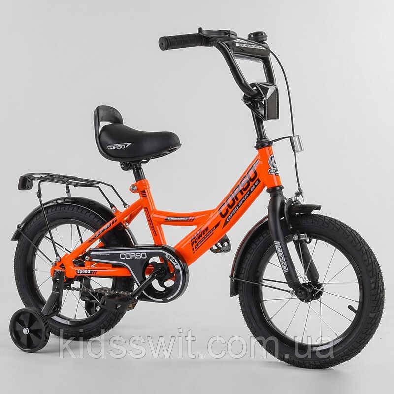 """Велосипед 14"""" дюймов 2-х колёсный  """"CORSO"""" CL-14315 ОРАНЖЕВЫЙ, ручной тормоз, звоночек"""
