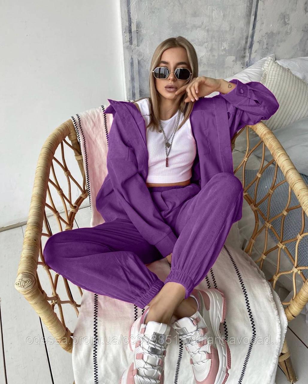 Жіночий модний річний оверсайз вельветовий костюм трійка (сорочка, топ і штани)