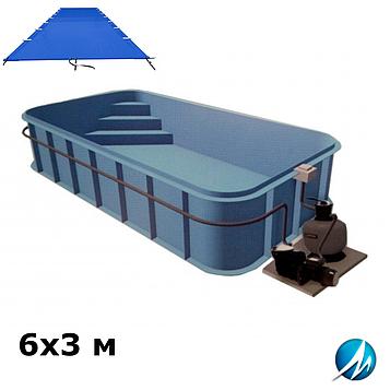 Поливиниловое накрытие для полипропиленового бассейна 6х3 м