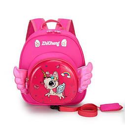 Детский рюкзак единорог с крыльями для малышей 1 - 4 лет с поводком