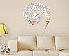 Часы зеркальные настенные Круги , часы наклейки пластиковые серебро, фото 2