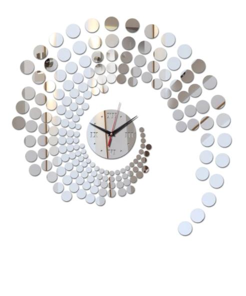 Часы зеркальные настенные Круги , часы наклейки пластиковые серебро