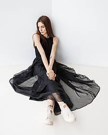 Игривая воздушная юбка макси в 3 цветах в размере S/M и L/XL. черный