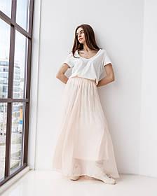 Игривая воздушная юбка макси в 3 цветах в размере S/M и L/XL. пудровый