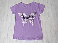 Летняя Футболка для девочек с принтом, лиловая розовая мятная р. 8-12 лет