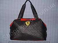 Женская сумка Ferrari 013635 черная с красным спортивная из стеганной ткани и кожзама