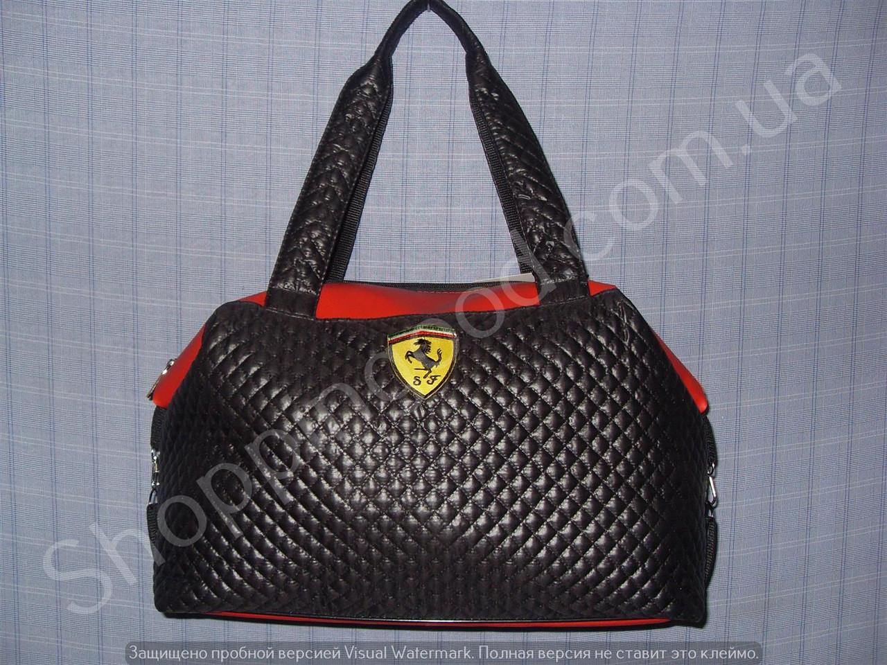 f9f8f726d506 Женская сумка Ferrari 013635 черная с красным спортивная из стеганной ткани  и кожзама - Shoppingood в