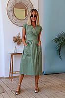 Красивое длинное женское платье сарафан на запах с карманами и поясом S M L XL