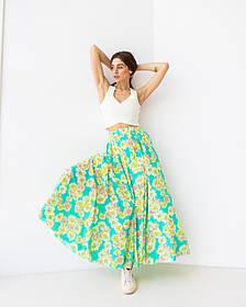 Летняя воздушная юбка макси в цветочный принт в 2 цветах в размере S/M и L/XL.