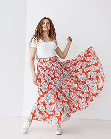 Летняя воздушная юбка макси в цветочный принт в 2 цветах в размере S/M и L/XL. Апельсин