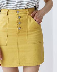 Короткая джинсовая прямая юбка в банановом и черном цвете размерах: S, M, L.