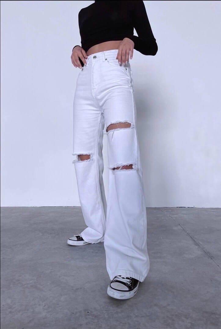 Женские джинсы «Палаццо» с порезами Производство Турция. Размер: 25, 26, 28, 30, 32.