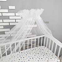 Балдахин на детскую кроватку из белого воздушного фатина