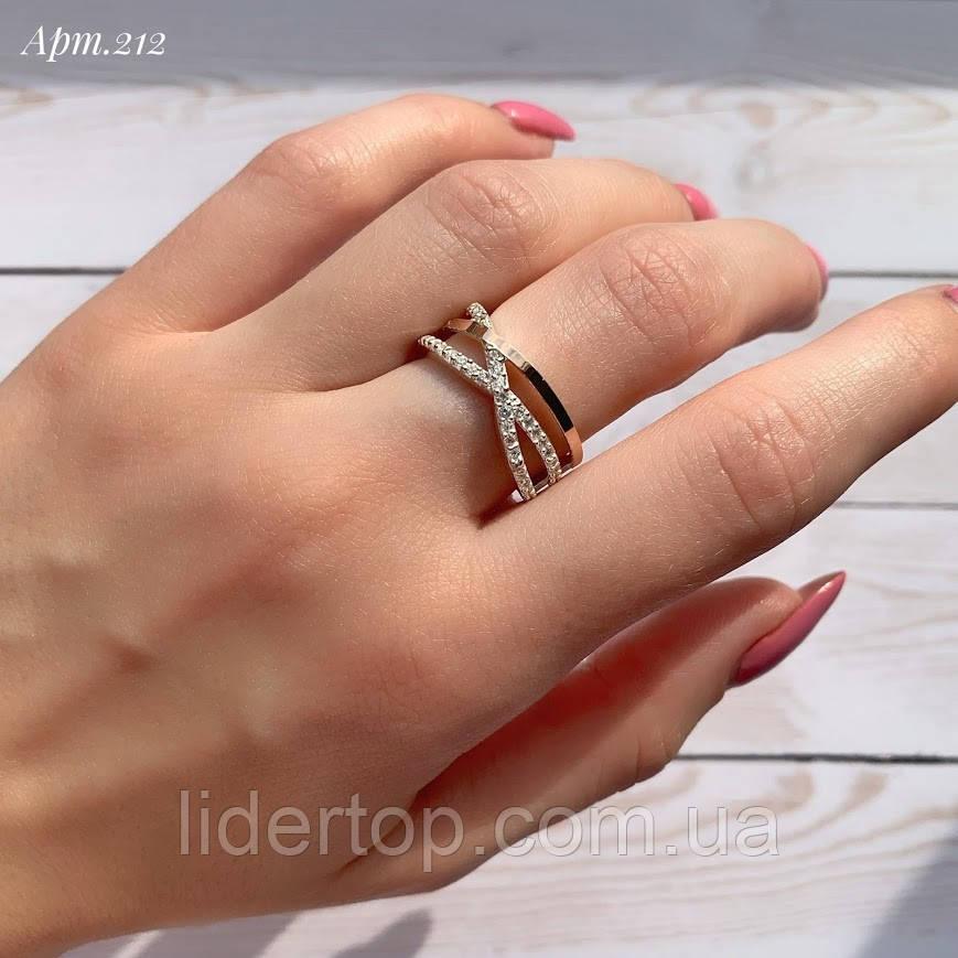 Кольцо Серебро 925 пробы с фианитами + пластины Золота 375 пробы Размеры 14-21